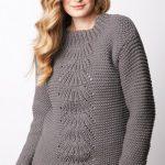 Center Fan Knit Pullover Free Knitting Pattern
