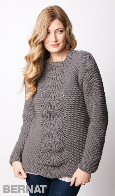 Center Fan Knit Pullover Free Knitting Pattern