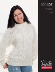 Cream Cable Women's Sweater Free Knitting Pattern