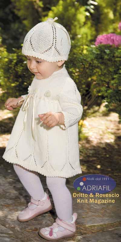 Donatello Lace Dress and Hat Free Baby Knitting Pattern. Free baby knit pattern download.