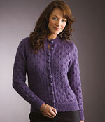 Eyelet Sweater or Cardigan free Patons knitting pattern Australia