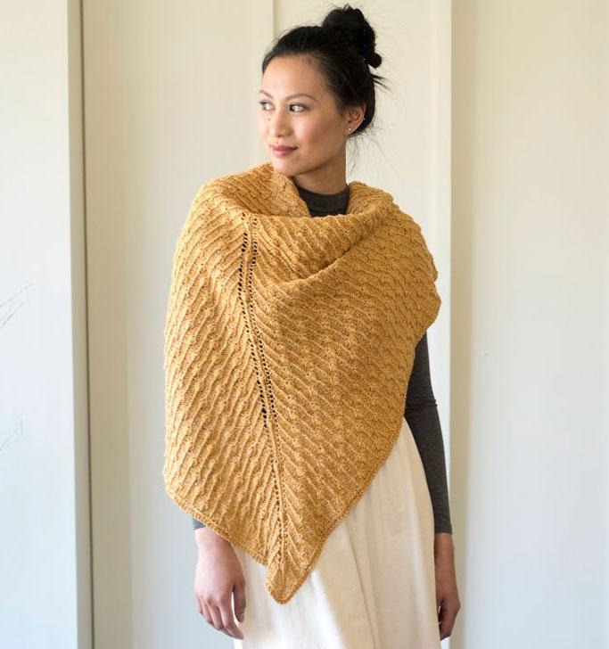 Forsythia Bobble Like Cluster Stitch Shawl Free Knitting Pattern