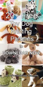 More than 20 Free Toy Dog Knitting Patterns to Download Now http://www.knitting-bee.com/free-knitting-patterns/free-knitted-toy-patterns/20-free-toy-dog-knitting-patterns-download-now