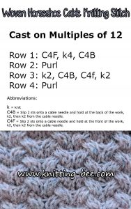 Horseshoe Woven Cable Free Knitting Stitch, see more at http://www.knitting-bee.com/knitting-stitch-library/cable-knitting-patterns/woven-horseshoe-cable-knitting-stitch