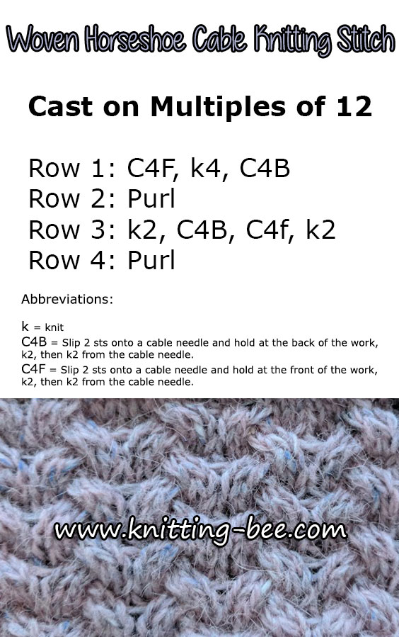 Woven Horseshoe Cable Free Knitting Stitch ⋆ Knitting Bee