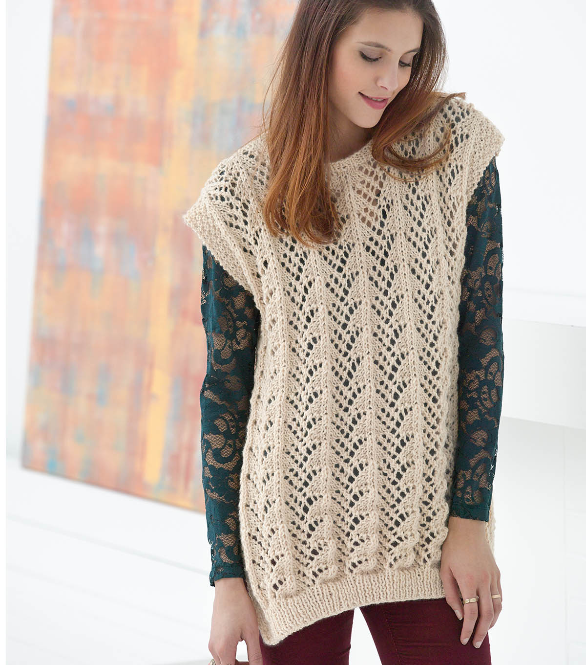 How to Knit Fan Lace Tunic Free Pattern