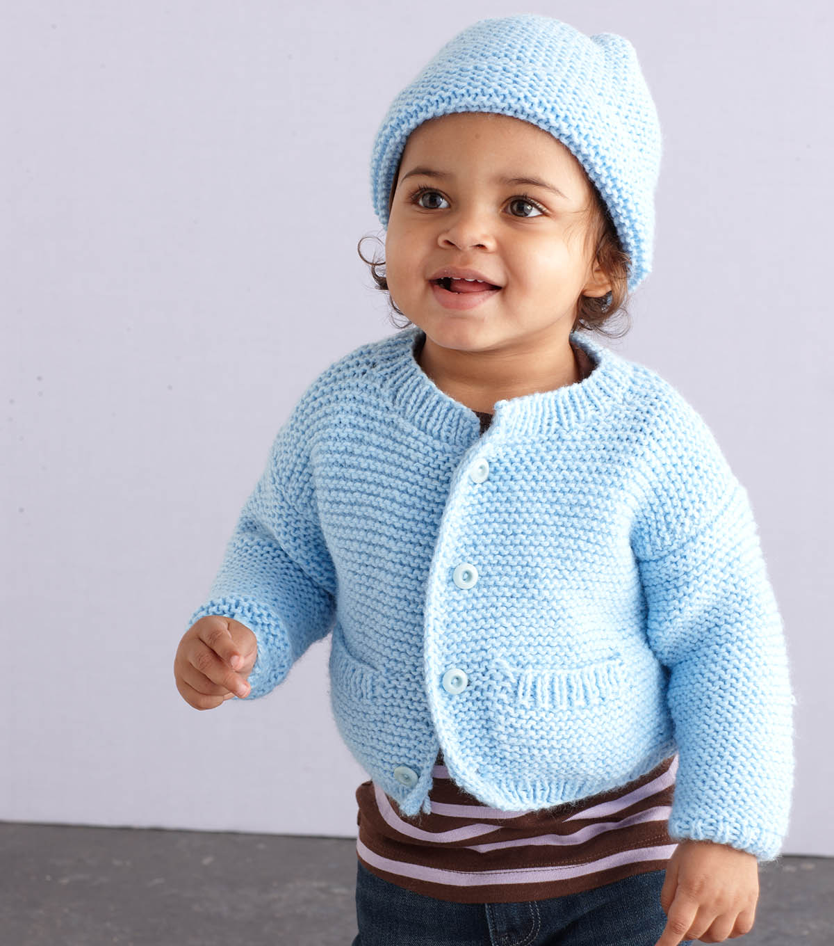 Knit A Simple Style Baby Cardigan and Hat Free Pattern ⋆ Knitting Bee