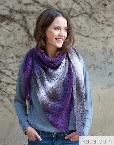 Lace Shawl In Variegated Yarn Free Knitting Pattern
