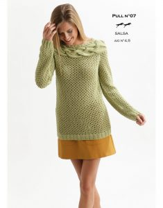 Lace Sweater with Cabled Yoke Free Knitting Pattern Download