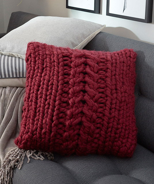 Oversized-Cable Pillow in Bulky Yarn Free Knitting Pattern