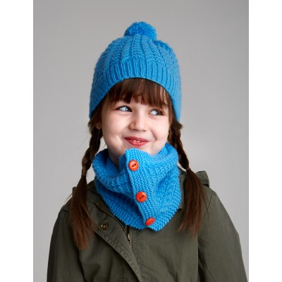 Patons Cozy Kid's Set Free Hat and Cowl Knit Pattern