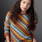 Patons Diagonal Stripes Sweater Free Knitting Pattern