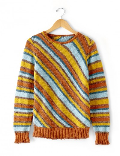Patons Diagonal Stripes Sweater Free Knitting Pattern