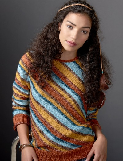 Amazing Knitting Patterns : Patons Diagonal Stripes Sweater Free Knitting Pattern ? Knitting Bee