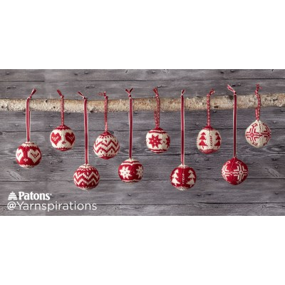 Patons Merry Fair Isle Knit Ornaments