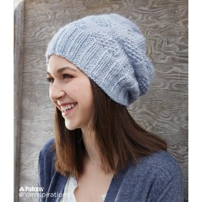 Patons Polka Dot Knit Hat Free Pattern