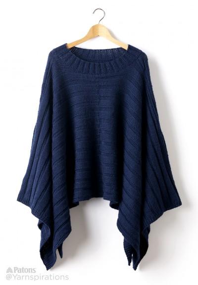 Patons Reversible Ribbed Knit Poncho