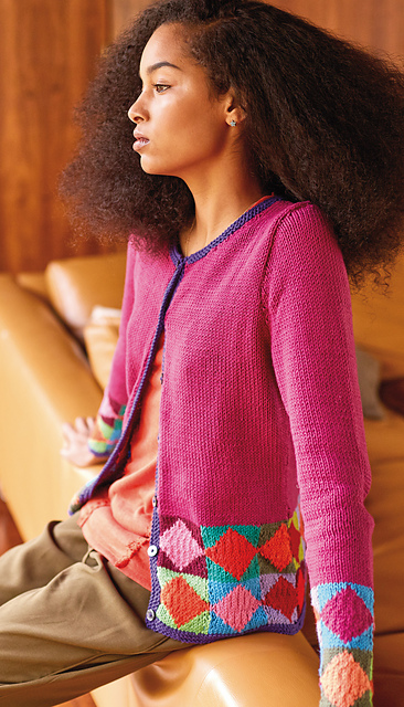 Red squares on point Cardigan Free Knitting Pattern