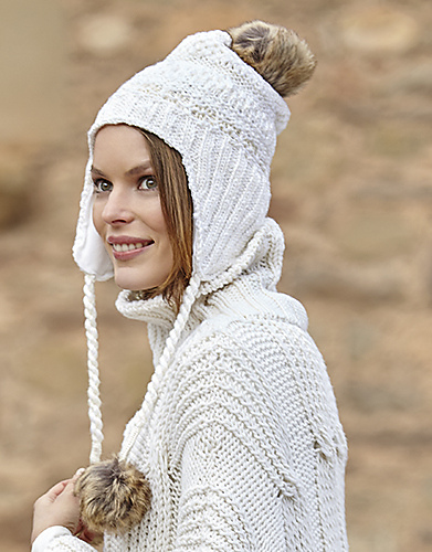 Woman's Cap Hat with Earflaps Free Knitting Pattern