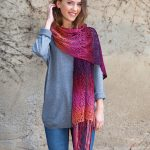 beautiful Lace Scarf in Rainbow yarn knit pattern