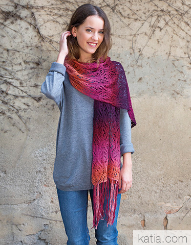 beautiful Lace Scarf in Rainbow yarn knit pattern