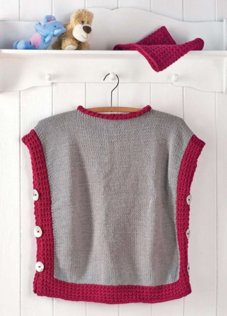 Child's Poncho and Cowl Free Knitting Pattern