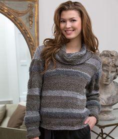 Cowl Neck Sweater free knitting pattern