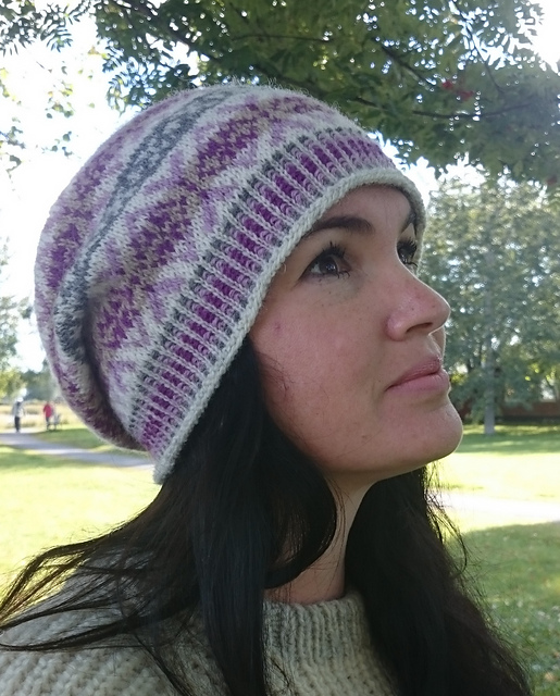 Hxans Slouchy Fair Isle Hat Free Knitting Pattern Knitting Bee