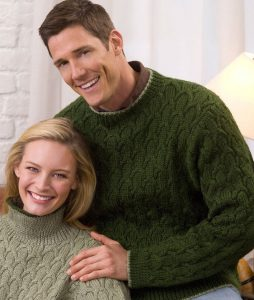 His and Hers Matching Cable Pullover Free Knitting Pattern