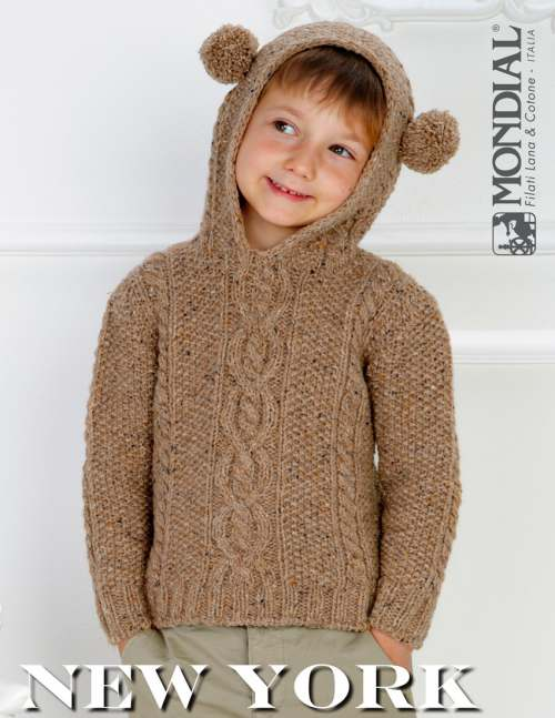 Hooded Sweater with Cables for Boys Free Knitting Pattern