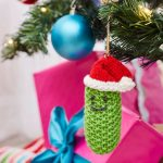 Jolly Pickle Ornament Free Christmas Knitting Pattern