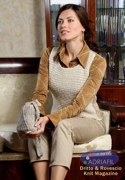 Knit Bucket Bag and Vest Set Free Knitting Pattern
