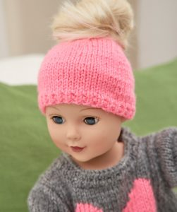 Love My Doll Sweater & Messy Bun Hat Free Knitting Pattern 18 Inch Doll