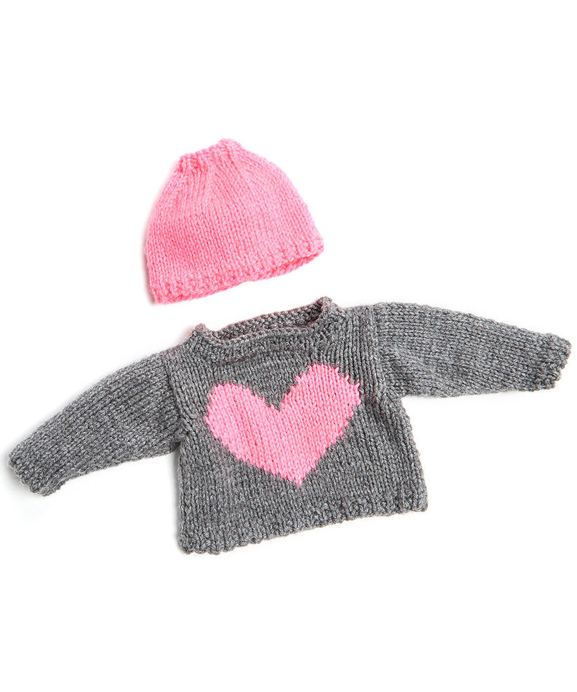Love My Doll Sweater Amp Messy Bun Hat Free Knitting Pattern