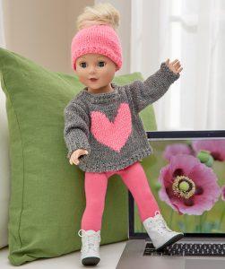 Love My Doll Sweater Messy Bun Hat Free Knitting Pattern 18 Inch Doll