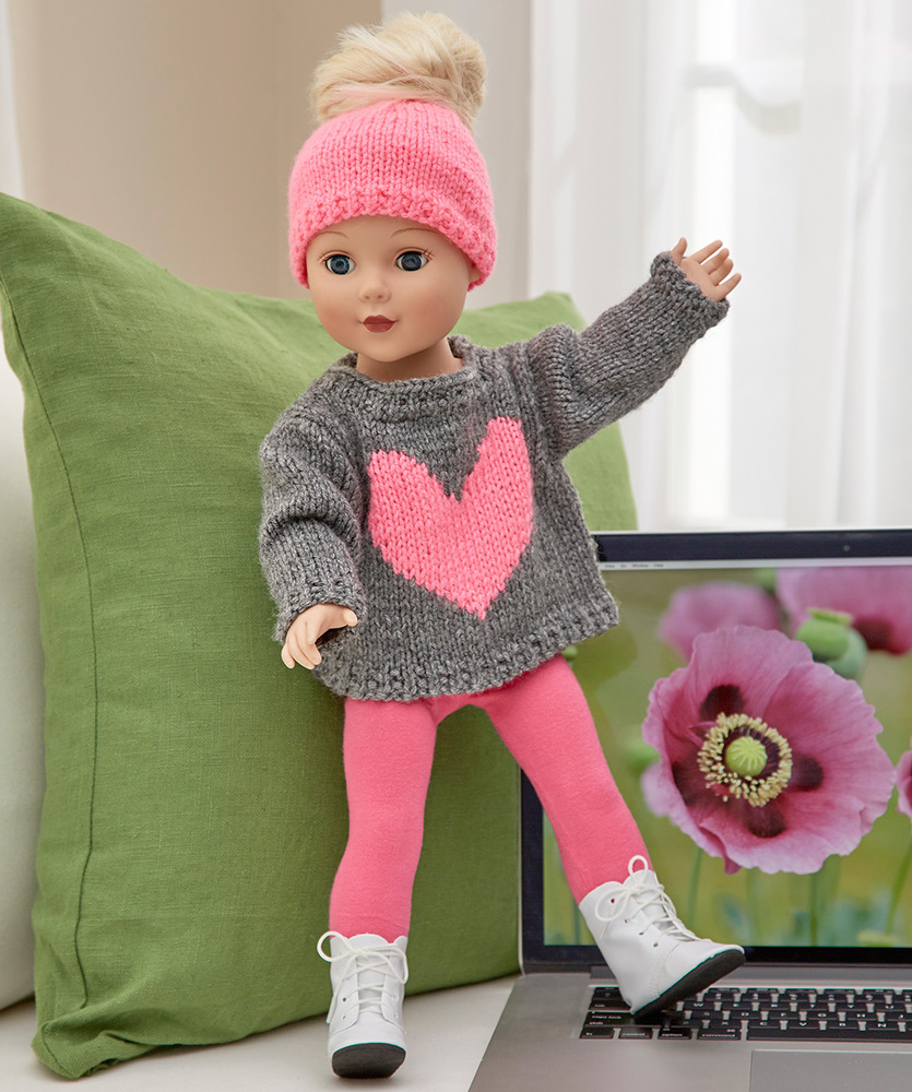 Free free knitting patterns for doll clothes 18 ins patterns love my doll sweater messy bun hat free knitting pattern 18 inch doll bankloansurffo Image collections
