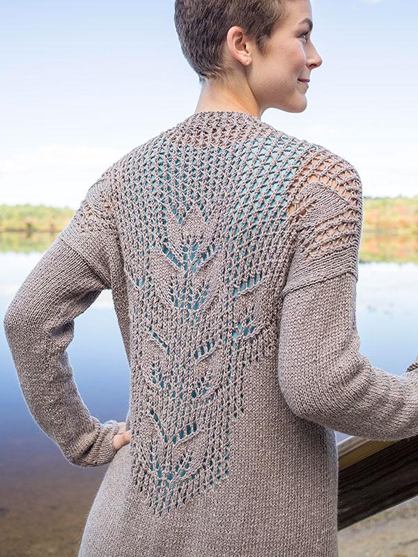Mallow Lace Leaf Cardigan Free Knitting Pattern