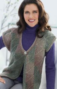 Mitered Square Vest Free Knitting Pattern For Women