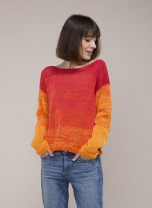 Orange Ombre Sweater Free Knitting Pattern