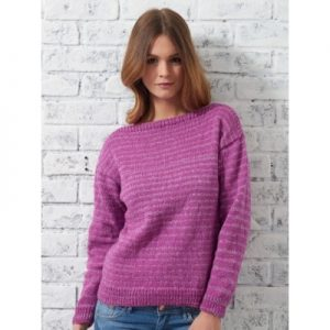 Stylish sweater with a classic neckline, free and easy knitting pattern