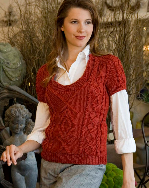 Short Sleeve Cable Vest Free Knitting Pattern
