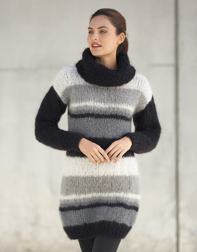 Striped Sweater Dress Free Knitting Pattern