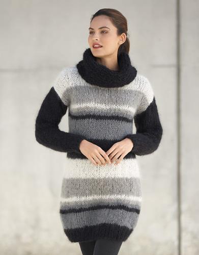 Striped Sweater Dress Free Knitting Pattern