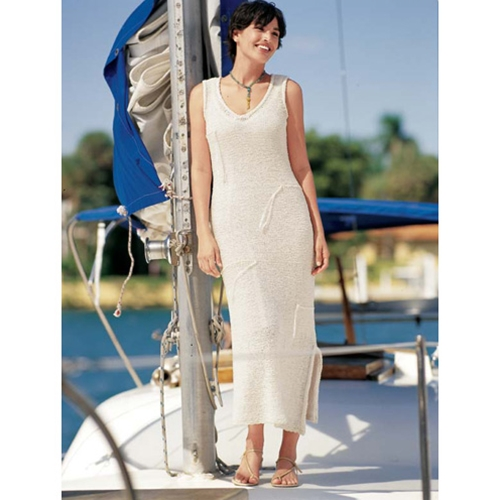 V-Neck Resort Dress Free Knitting Pattern
