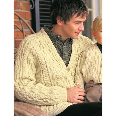 Aran Cardigan Free Knitting Pattern for Men