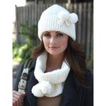 Bernat Cowl and Hat with Pompoms Free Knitting Pattern