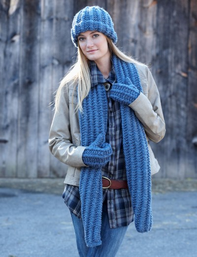 Bernat Cozy Knit Set Free Hat Scarf And Mitts Knit Pattern