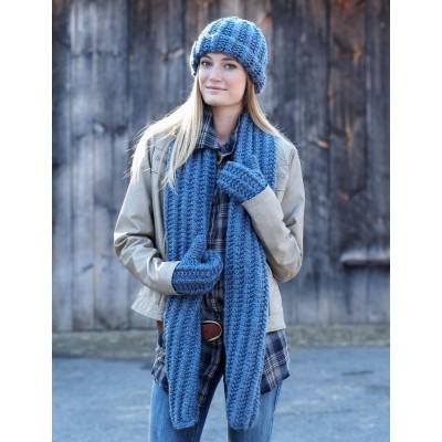 Bernat Cozy Knit Set Free Hat, Scarf and Mitts Knit Pattern