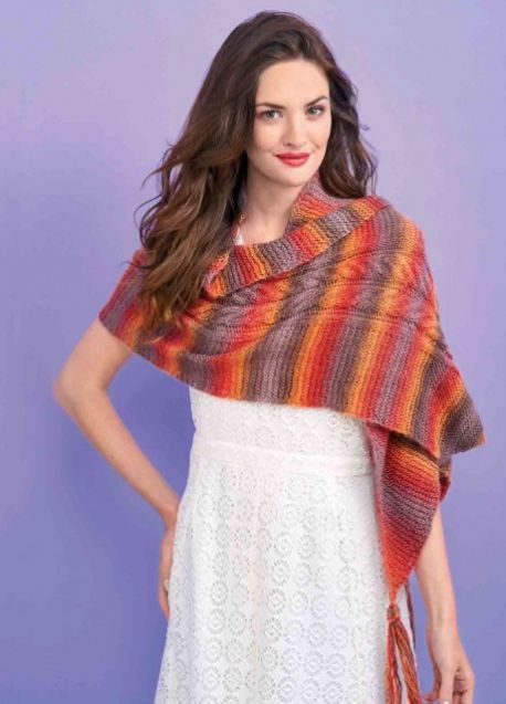 Cabled Autumn Wrap Free Knitting Pattern