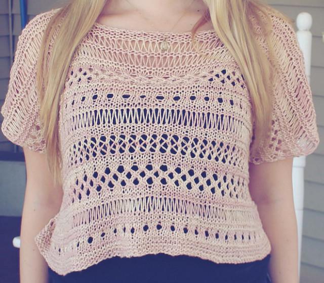 Cancun boxy lace top free knitting pattern